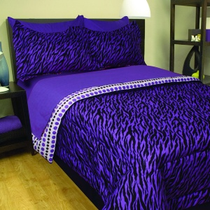 Zebra Print Purple Twin Bed In A Bag